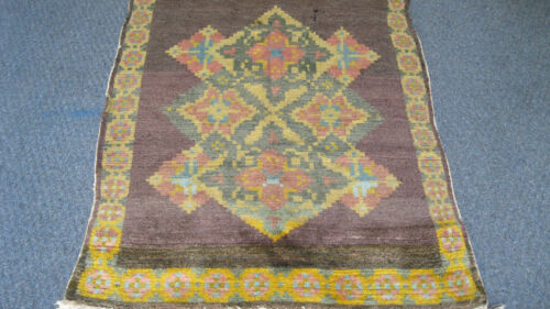 1890s-1900 ESTATE MYSTERIOUS  RUG WITH LAMAH WOOL YOU MUST SEE YELLOW COLORS WOW