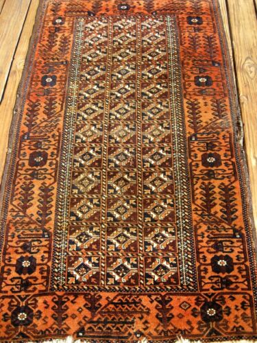 AMAZING VERY FINE ANTIQUE 1890-1900  BLOUCH RUG  GOOD PILE