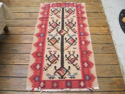 1900   ANTIQUE  ANATOLIAN  TURKISH SMALL  KELIM WITH BIRDS  AND FISHES  ALL OVER