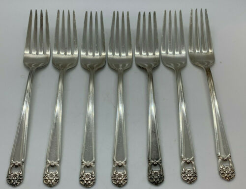 Set 7 Dinner Forks Eternally Yours Silverplate 1941 International Rogers Lot 7