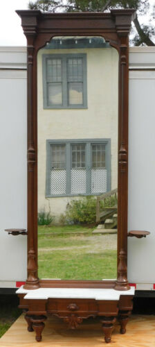 Fantastic Walnut Victorian Pier Mirror with Candle Shelves circa 1870
