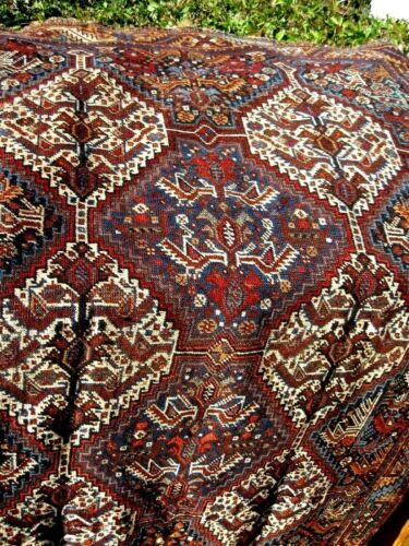 1890-1900 AMAZING ANTIQUE   FINE RUG  WITH BIRDS AND CHICKENS ALL OVER  GREAT CO