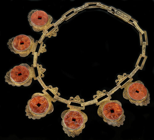 VTG ART DECO CHINESE ANTIQUE CARVED CARNELIAN AGATE FILIGREE STERLING NECKLACE