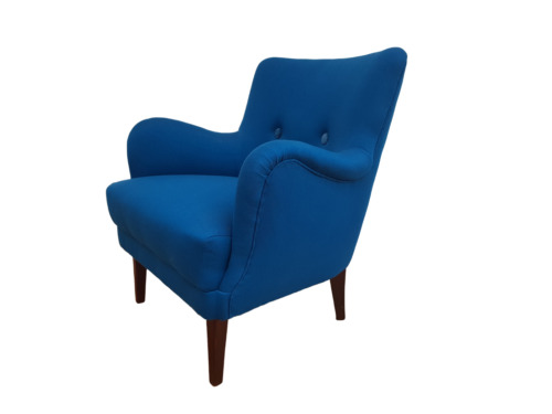 Danish designed armchair 70's, wool, beech, completely renovated-reupholstered