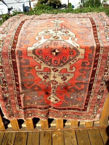 "ANTIQUE 1900  CAUCASIAN KAZAK SMALL RUG 5'3"" X 3'9"""