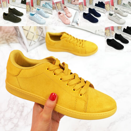WOMENS LADIES LACE UP FLAT TRAINERS PLIMSOLLS SNEAKERS PARTY COMFY SHOES