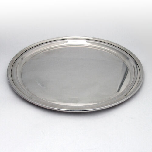 Tiffany Plain Round Serving Tray Plate Applied Rim Sterling Silver
