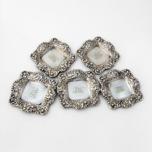 Repousse Floral Square Butter Pats Set Shreve Sterling Silver Mono NAK