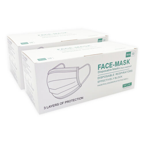 100x Disposable Face Mask 3 Ply Dust Filter Masks Protective 98% 3 Layer