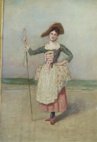 Peasant girl seascape Painting Oil board Antique Giltwood gilt Gesso wood frame