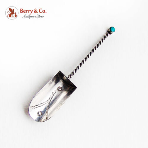 Native American Shovel Twist Handle Turquoise Accent Sterling Silver