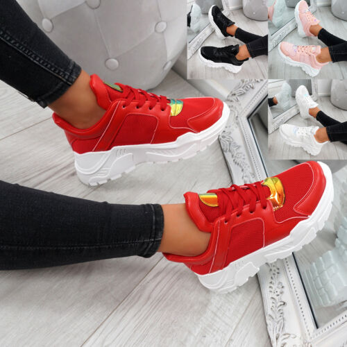 WOMENS LADIES MESH RUNNING TRAINERS LACE UP SNEAKERS HEEL SHOES SIZE