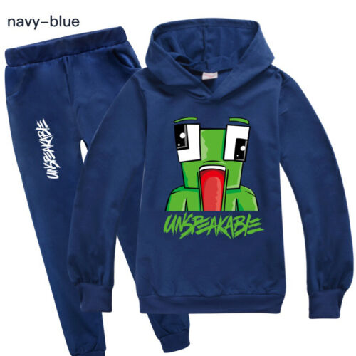 Boys UNSPEAKABLE outfit cotton navy hoodie top pants set long sleeve  size 7-14