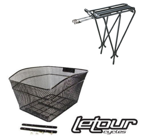 Bike Basket & Rear Rack Combo Package For Extra Rear Bicycle Storage