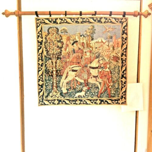 """GOBLYS WOVEN TAPESTRY FRANCE 34""""X33"""" HUNTERS HORSES DOG FALCON TURQ GLD RED TEAL"""