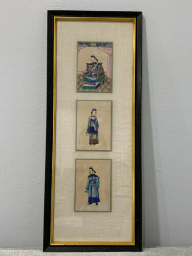 Antique Chinese Qing Group 3 Framed Rice Paper Pith Paintings Man Woman Emperor