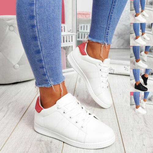 WOMENS LADIES LACE UP STUDDED PLIMSOLLS FLAT TRAINERS SNEAKERS PARTY WOMEN SHOES