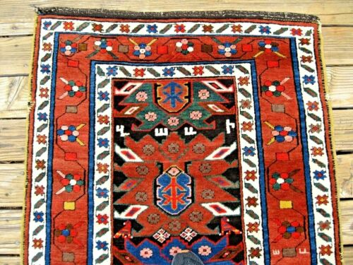 EXCEPTIONAL ANTIQUE ARMENIAN CAUCASIAN  RUG  WITH ARMENIAN INITIALS  GREAT COLOR
