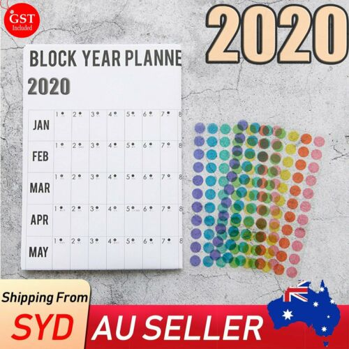 2020 Annual Yearly Wall Planner Holidays Birthdays Anniversary Note New Year
