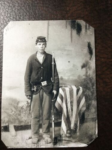 Civil War Military Soldier With Rifle & Flag TinType C201RP
