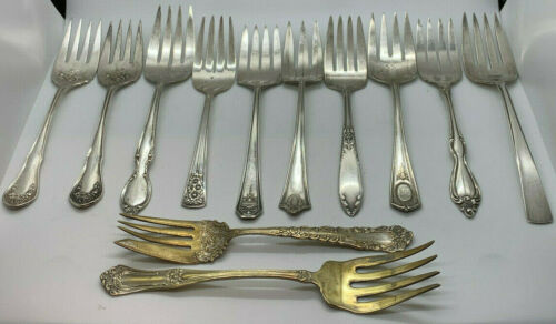 Lot 12 Serving Meat Forks Silverplate Mixed Patterns Art Jewelry Craft Utensils