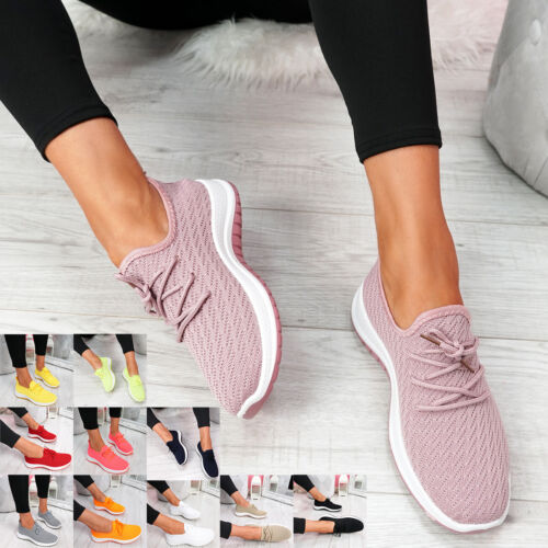 WOMENS LADIES KNIT TRAINERS LACE UP SPORT SNEAKERS CASUAL RUNNING WOMEN SHOES