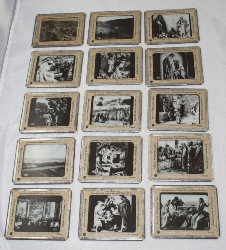 Collection of 15 Antique 3 1/4 x 4 Inches Holley Process Slides Religious Matter