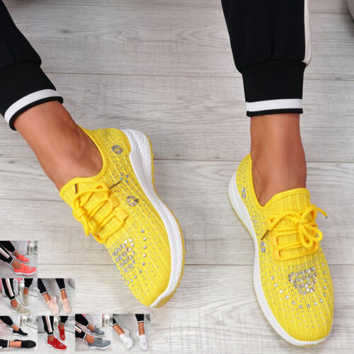 WOMENS LADIES KNIT DIAMANTE STUDDED SPORT TRAINERS SNEAKERS PARTY WOMEN SHOES