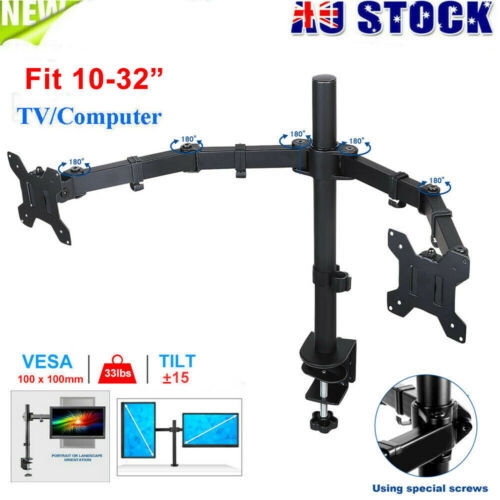 Dual Monitor Arm Desk Mount Stand 30'' HD LED Display TV Screen Holder