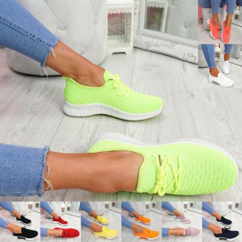 WOMENS LADIES LACE UP KNIT SPORTS GYM TRAINERS WOMEN SNEAKERS RUNNING SHOES