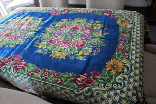 Genuine Vintage Velvet Floral Table Cover or Wall Hanging-Excellent Condition