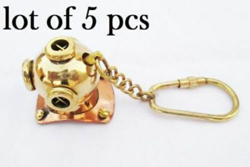 New Brass Divers Helmet Keychain Nautical Diving Keyring Gifts lot of 5 pc HALLO