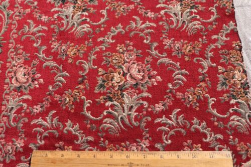 """Vintage c1930 French Burgundy Red Cotton Jacquard Tapestry Sample Fabric~15""""X23"""""""