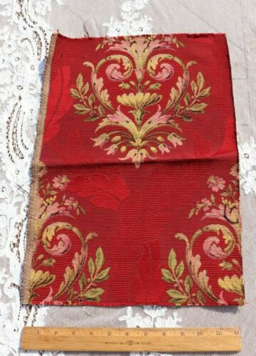 """Antique c1900 French Cotton Jacquard Tapestry Sample Fabric~Cherry Red~18""""X12"""""""