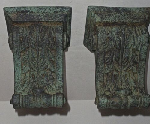 Fancy Pair Verde Porcelain Classical Leaf Scroll Wall Hanging Shelf Sconces