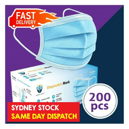 200Pc Disposable Face Mask Protective Masks 3 layer Meltblown Filter General Use <br/> SYD STOCK/Same Day Dispatch/BFE ≥ 95%/CE Certified