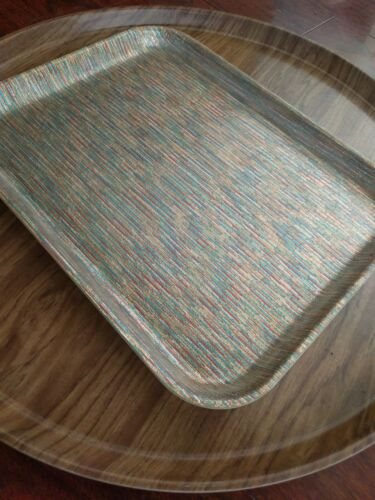 2 Mid Century MODERN FIBERGLASS TRAYS CAMTRAY FAUX WOOD TURQUOISE DRINKS ATOMIC