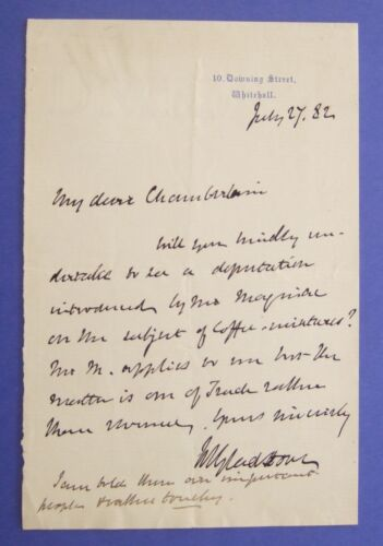 1882 MSS LETTER SIGNED WILLIAM GLADSTONE to JOSEPH CHAMBERLAIN 10 DOWNING STREET