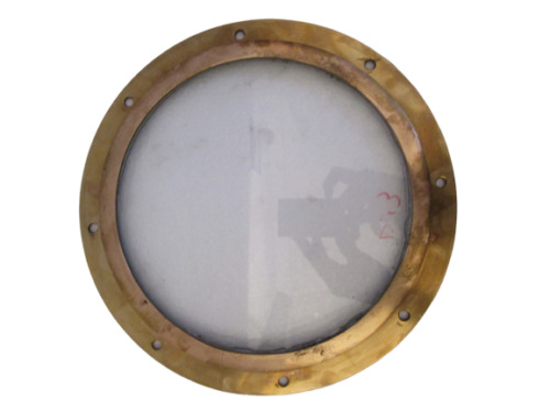 VINTAGE ship's BRASS PORT HOLE / Window / Porthole - 11 INCHES OUTER