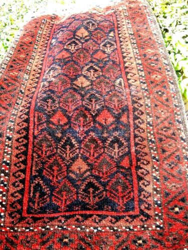 ANTIQUE 1900  AMAZING  BELOUCH SMALL RUG OR GRAIN  BAG FULL PILE GREAT COLORS
