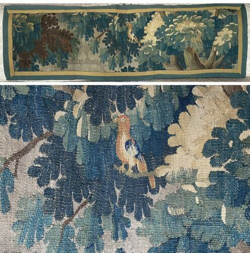 Antique c.1600s Flemish Verdure Wool Tapestry Panel, Wall Hanging, Pillows, Bird