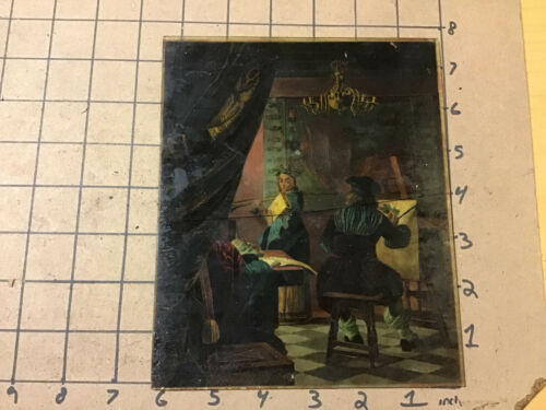 """collection: MAGIC LANTERN hand painted 6 x 7 1/2"""" slide of ARTIST"""