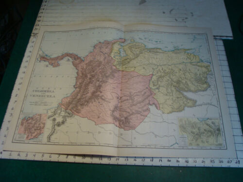 Vintage Original 1898 Rand McNally Map: COLOMBIA VENEZUELA, 28 x 21""
