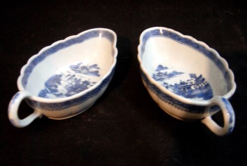 Pr. of 19th C. Antique Canton Sauce Boats