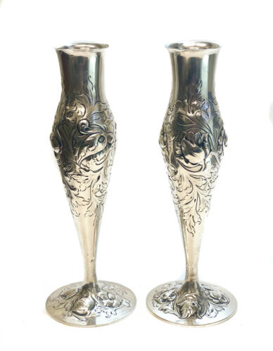 Pair N.M. Thune Norwegian 830 Silver Footed Vases, Repousse Flowers