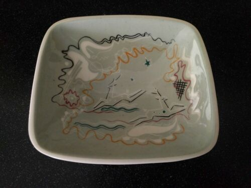 MID CENTURY MODERN  GAZELLE POTTERY BOWL ATOMIC GRAY DEER VIntage CANDY NUTS