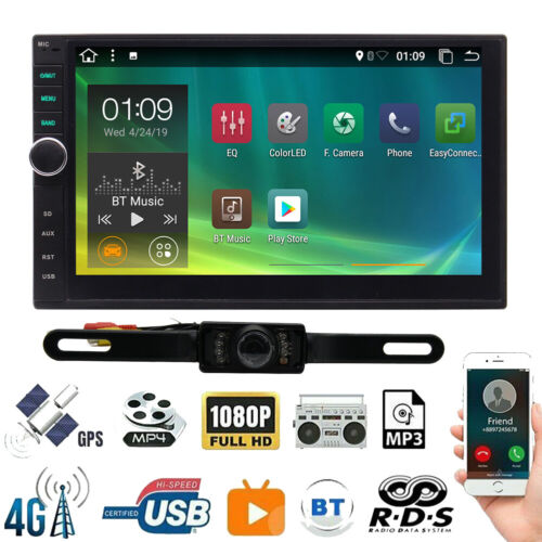 "Universal 7"" Android 10.0 Double Din Car Radio Stereo Head Unit GPS +Rear Camera"