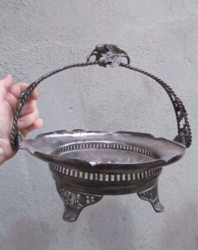 Antique Compote Silverplate basket Cherry Acorn handle filigree unmarked Vintage