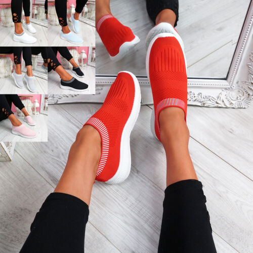 WOMENS LADIES SLIP ON KNIT TRAINERS RUNNING SNEAKERS LOW HEEL WOMEN SHOES SIZE