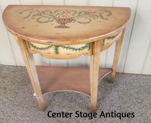 49361 DECORATOR HAND PAINTED WOOD HALF ROUND CONSOLE TABLE